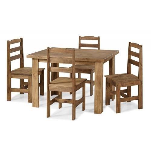 Conjunto Mesa de Jantar Classic (80 X 120cm)  - 4 Cadeiras - Madeira Maciça