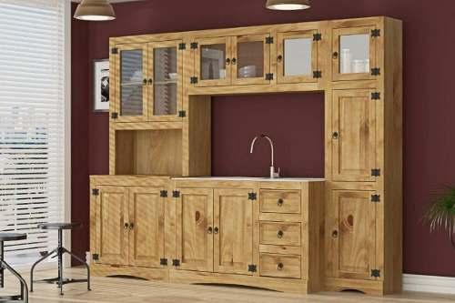Cozinha Compacta Rústica com 5 Modulos - Madeira Maciça - Cera Mel
