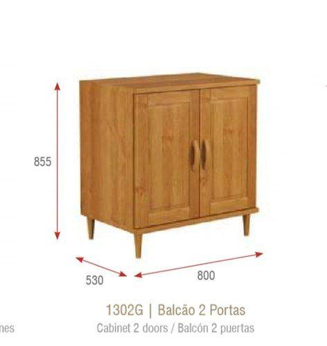 Balção De Cozinha - 2 Portas - Madeira Maciça - Nogueira