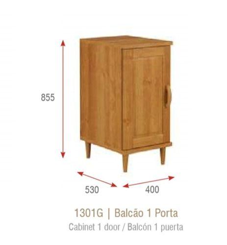 Balção de Cozinha com 1 Porta - Madeira Maciça -  Cor Nogueira