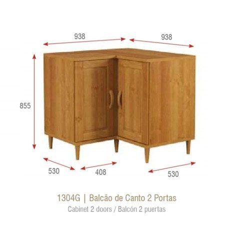 Balção de Cozinha de Canto com 2 Portas - Madeira Maciça - Cor Nogueira