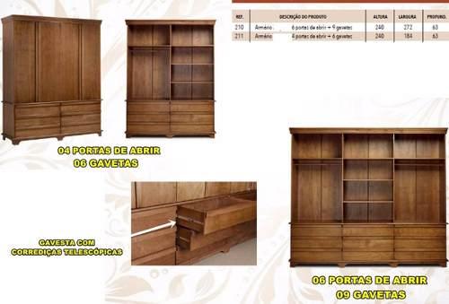 Roupeiro Mayorca  - 6 Portas - 9 Gavetas - Woods - Cor Imbuia