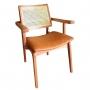 Cadeira de Jantar Amsterdã com Braço Madeira Maciça - Tela Sextavada Bege -  Acento Caramelo - Amêndoa