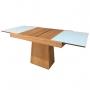 Conjunto Mesa de Jantar Berlim Extensível (110 - 170cm) - Tampo de Vidro - 4 Cadeiras Berlim - Amendoa