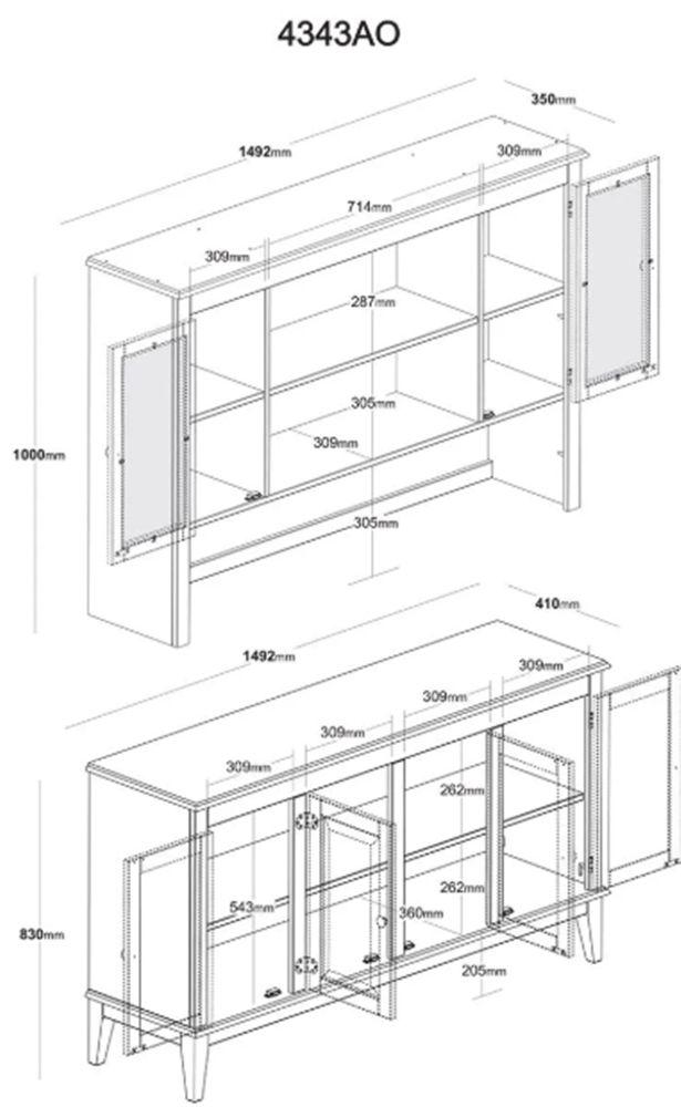 Arca e Oratória Clássica com 6 Portas - 3 Nichos - Cor Cinza