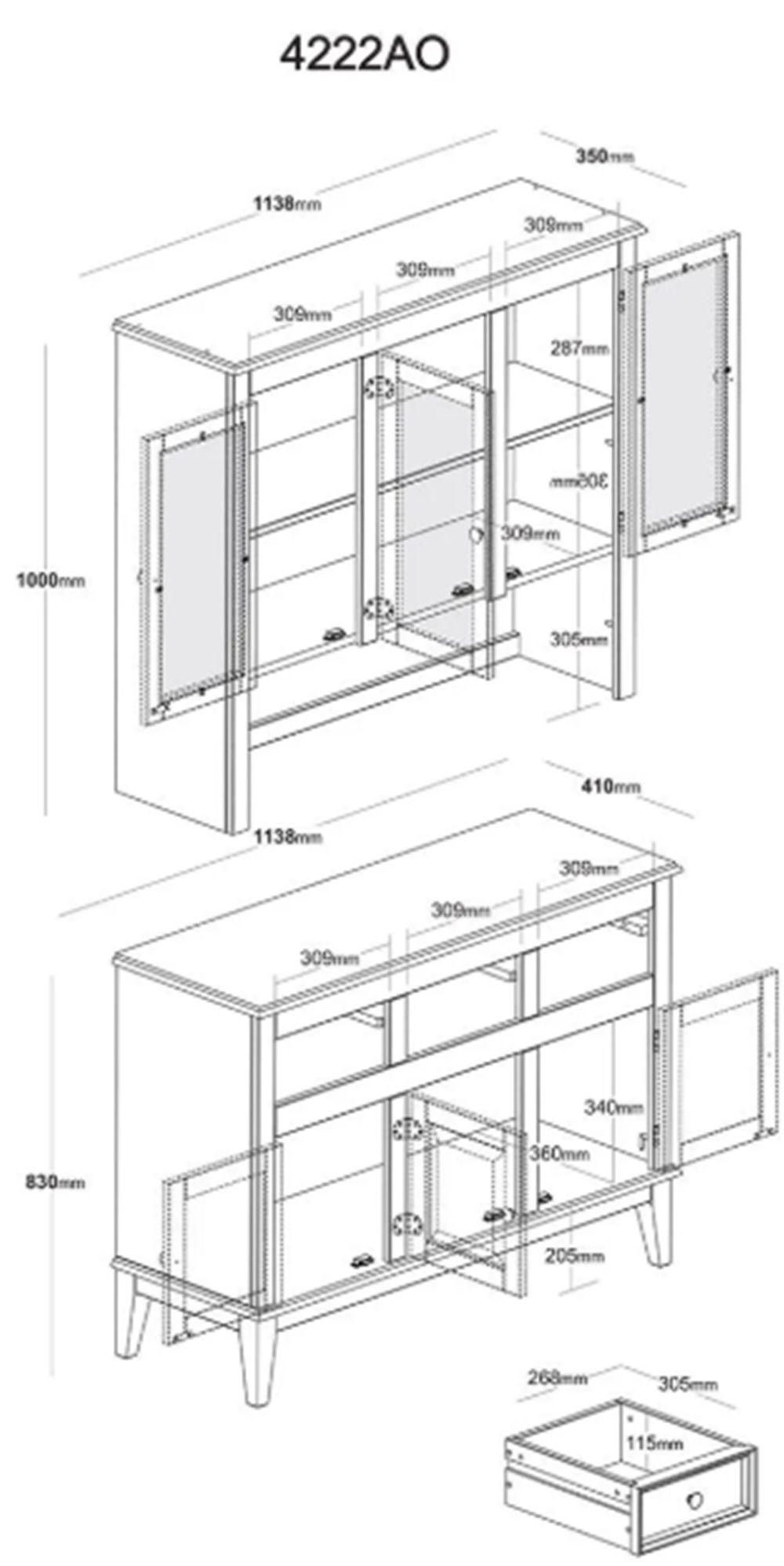 Arca e Oratória Clássica com 6 Portas - 3 Gavetas - Cor Cinza