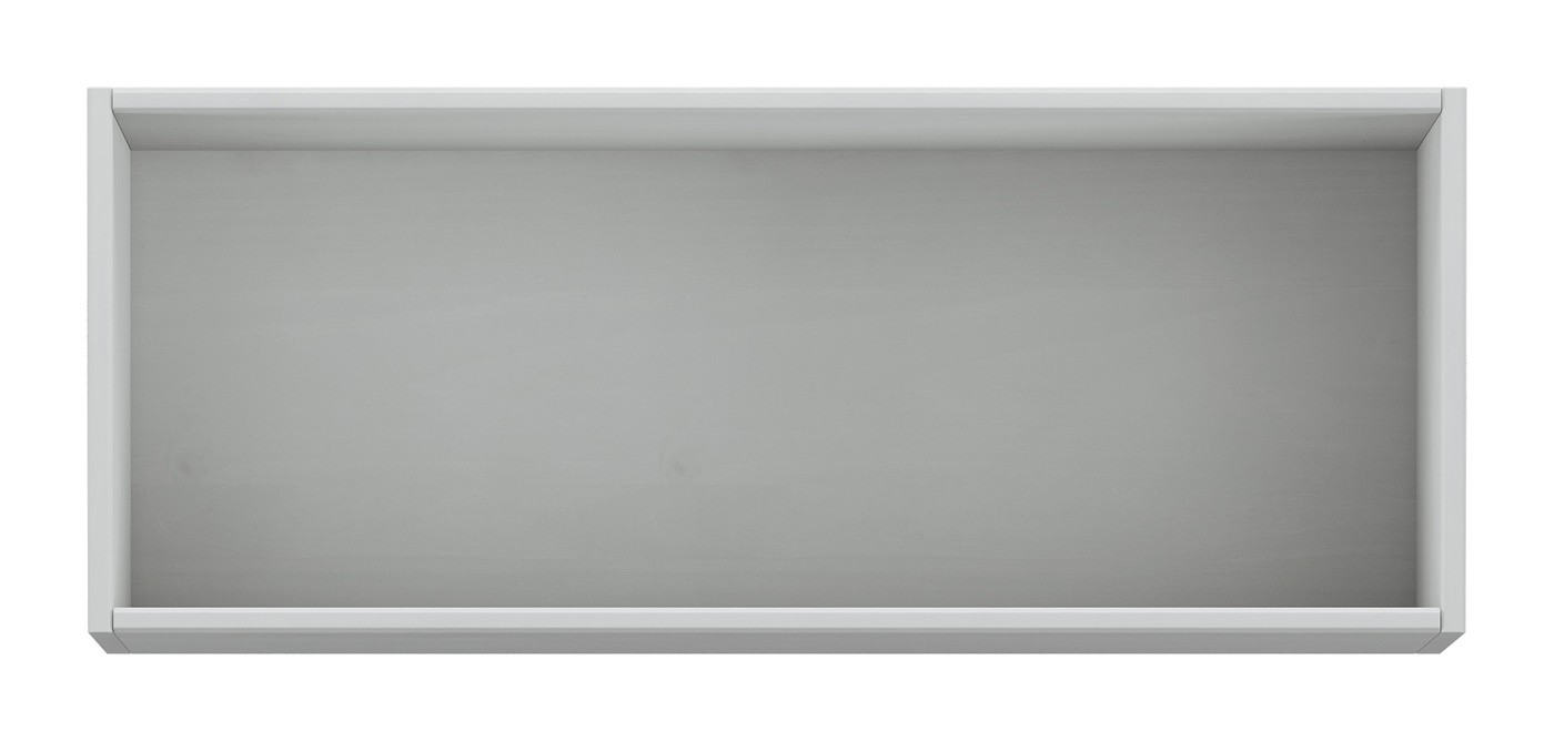 Armário Aéreo Cristal de Geladeira (80cm) - Madeira Maciça - Cinza/Carvalho