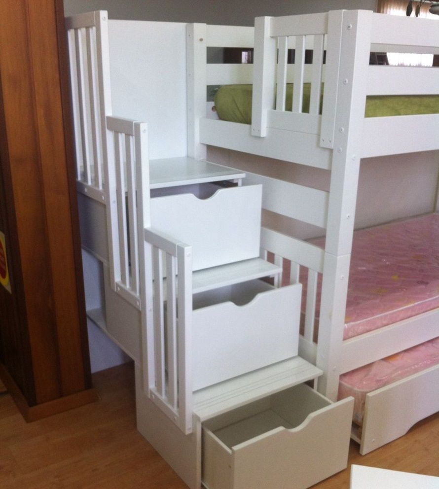 Beliche Victoria - Cama Auxiliar - Escada com 3 Gavetas - Branco
