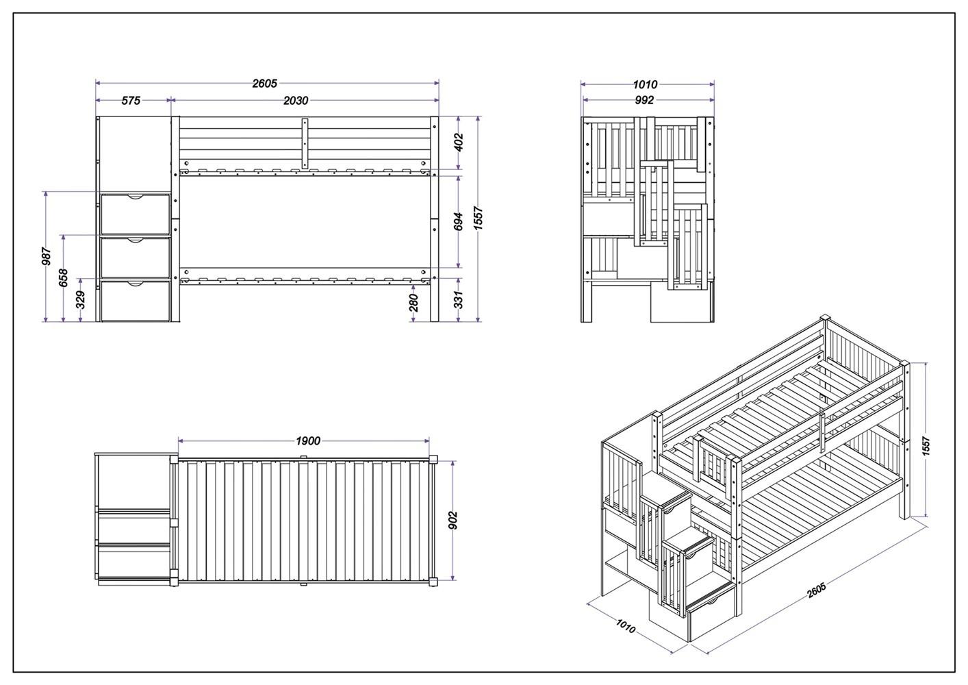 Beliche de Solteiro Victoria - Cama Auxiliar - Escada com 3 Gavetas - Capuccino
