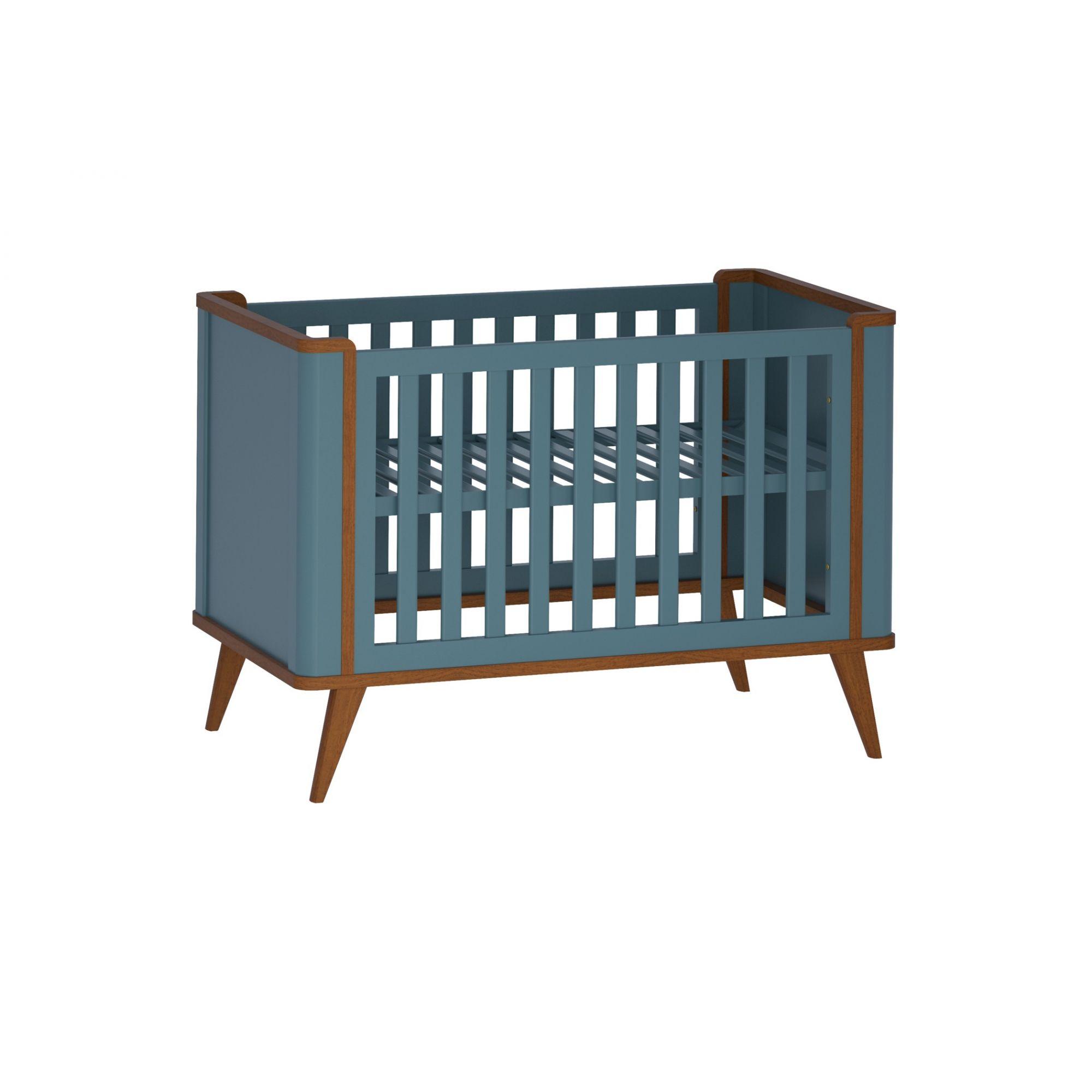 Berço Infantil Bella com Grade Fixa - Anti Refluxo - Euclar - Azul Petroleo