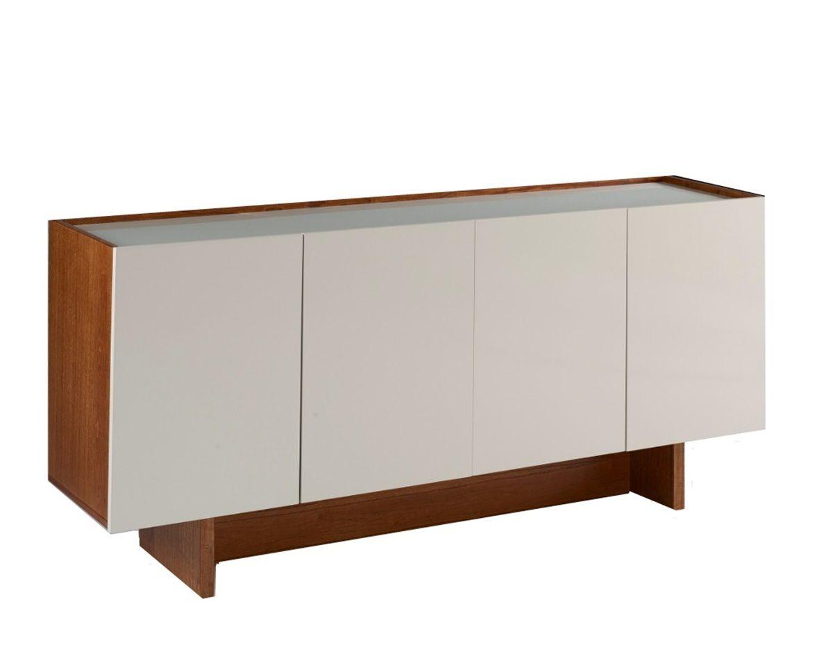 Buffet Viena com 4 Portas no Tamanho ( 160cm ) - Cor Amendoa com Off White