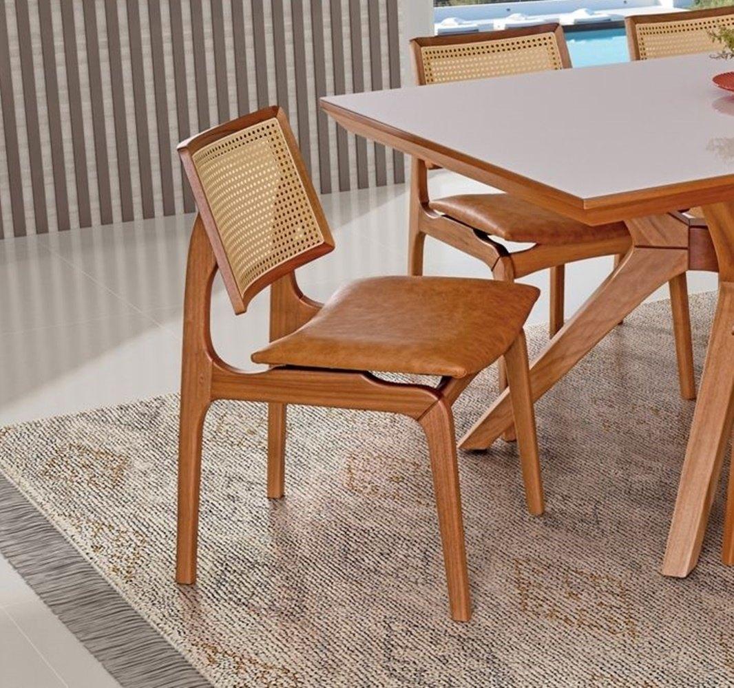 Cadeira de Jantar Amsterdã - Acento Caramelo - Studium Prime - Amêndoa