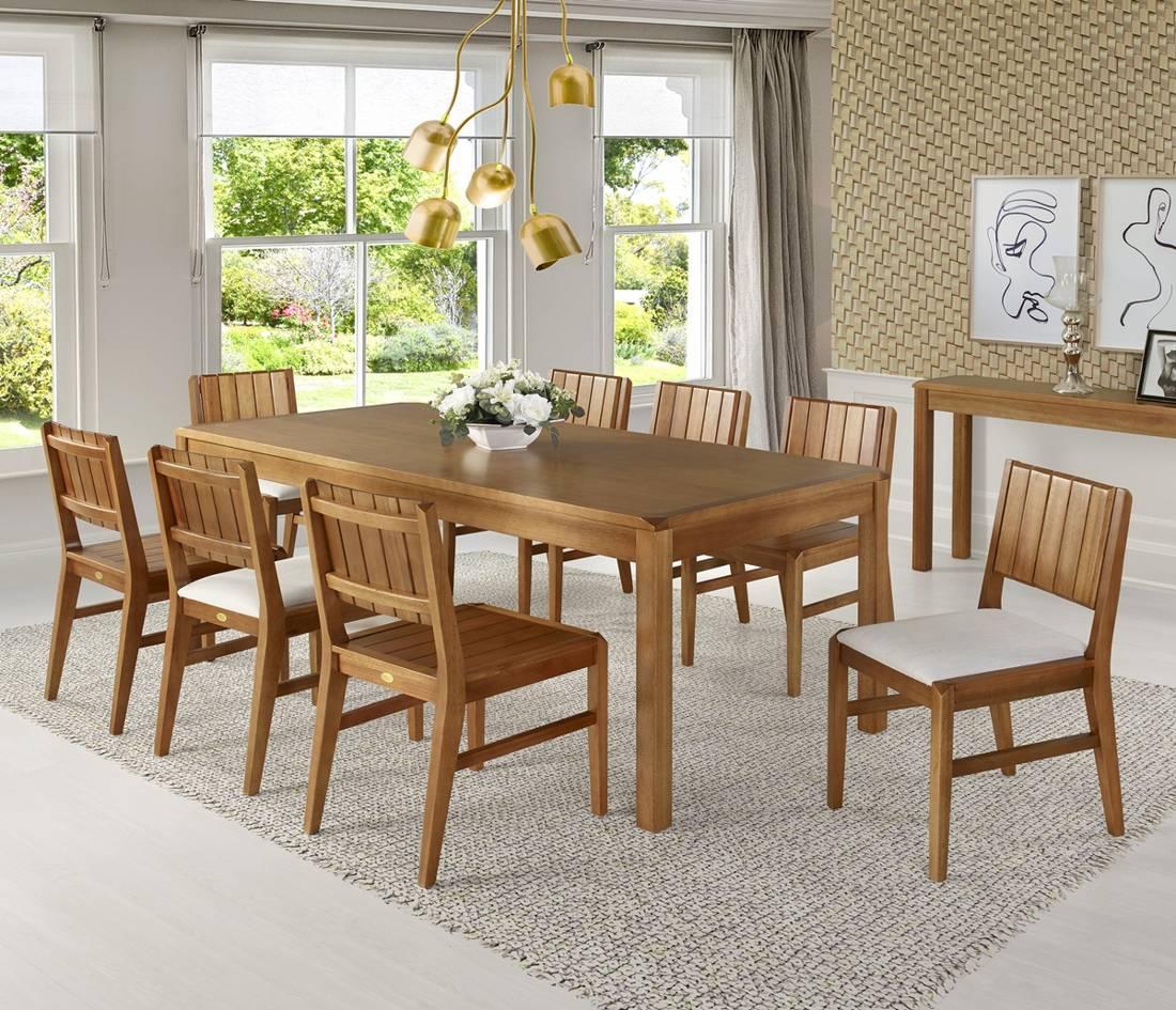 Cadeira de jantar Angra Estofada - Madeira Maciça de Eucalipto
