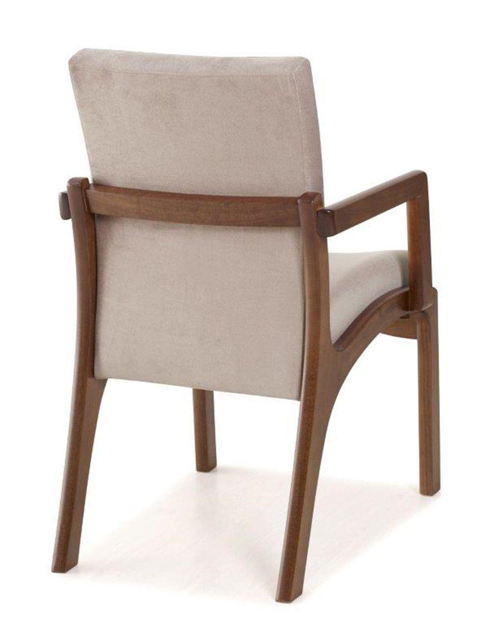 Cadeira de Jantar Classic com Braço - Madeira Maciça Tauari - Euclar