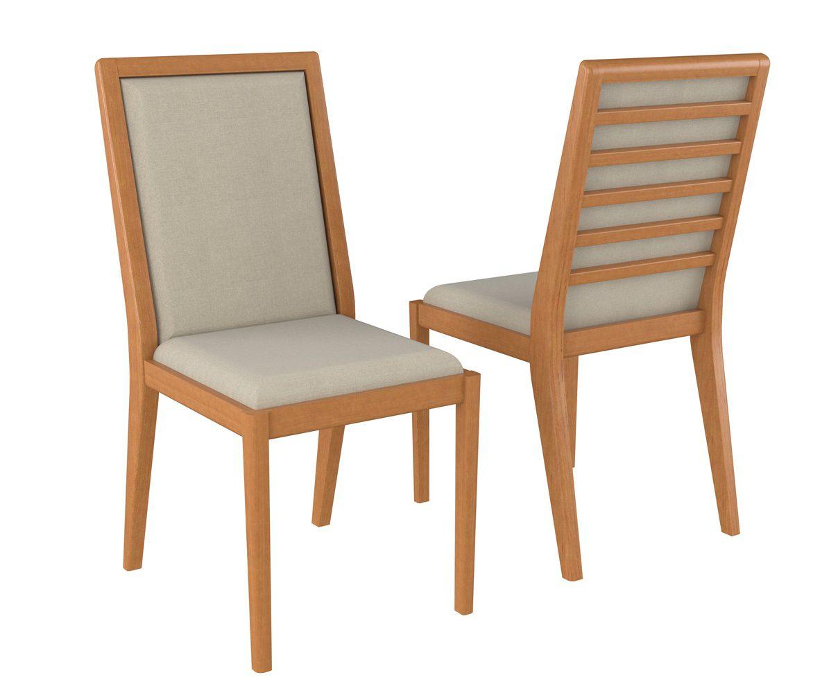 Cadeira de Jantar Colúmbia em Madeira Maciça - Estofada