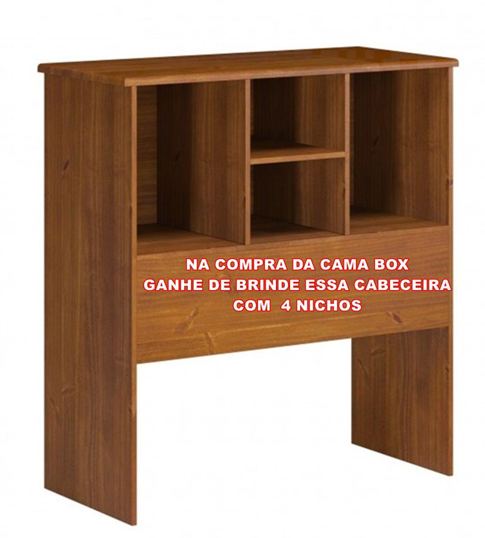 Cama Box Solteiro Multiuso  Parma com 2  Gavetas - 4 Nichos - Madeira Maciça - Cor Imbuia