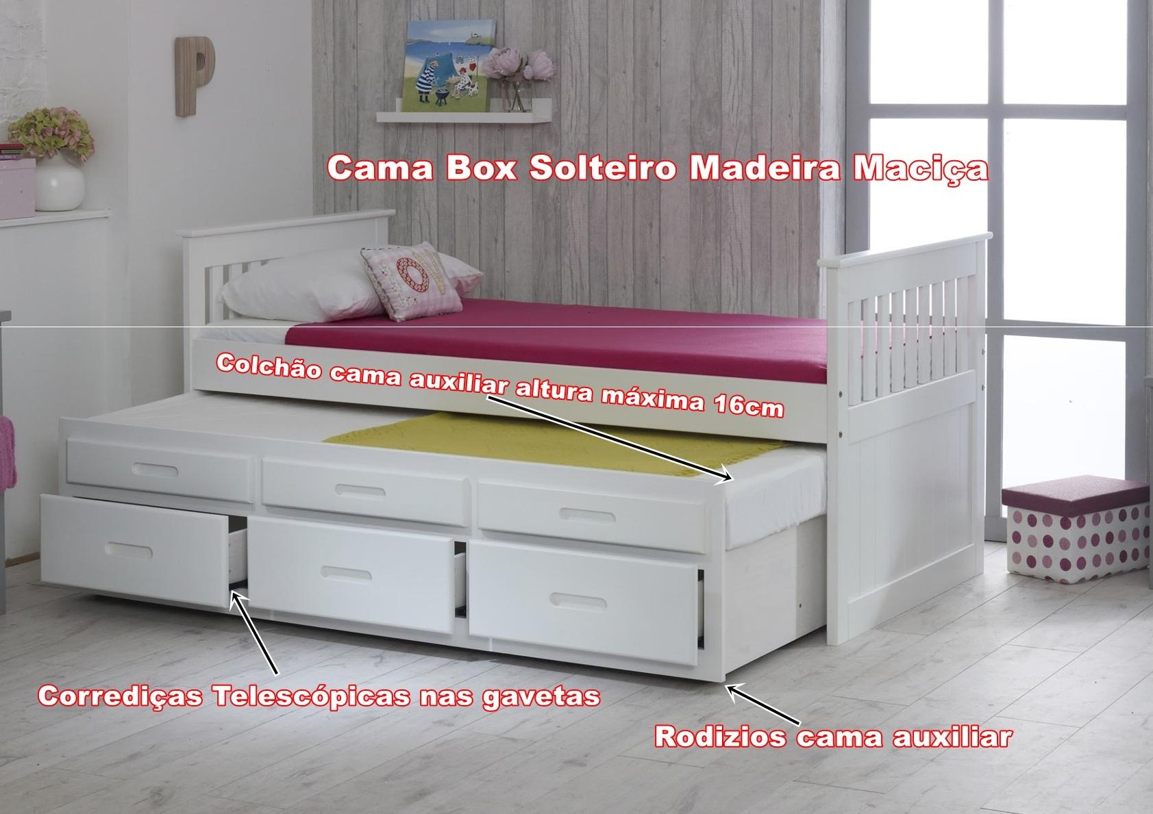 Cama de Solteiro Box - 3 Gavetas - Madeira Maciça, Studium Prime - Branca