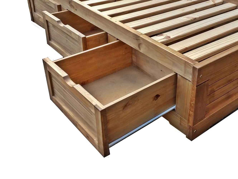 Cama Solteiro Box com Cabeceira - 3 Gavetas - Madeira Maciça - Cera Mel