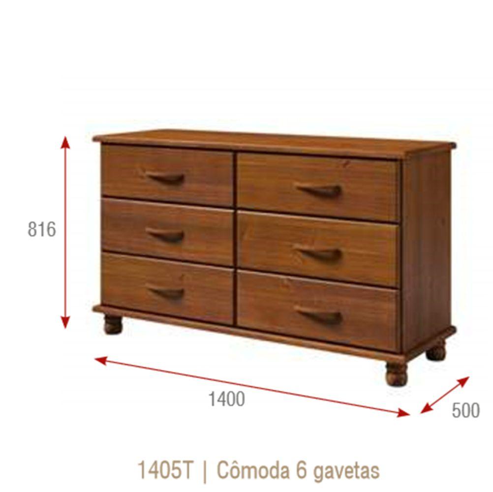Comoda Esmeralda com 6 Gavetas - Madeira Maciça - Cor Imbuia
