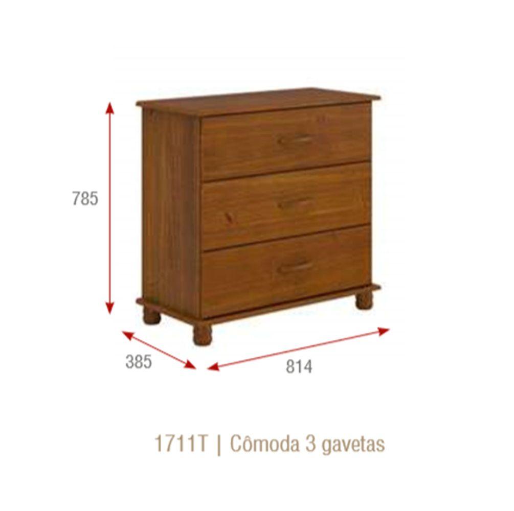 Cômoda Onix com 3 Gavetas - Madeira Maciça - Cor Imbuia