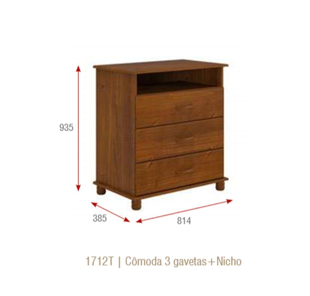 Cômoda Onix com 3 Gavetas - 1 Nicho - Madeira Maciça - Cor Imbuia