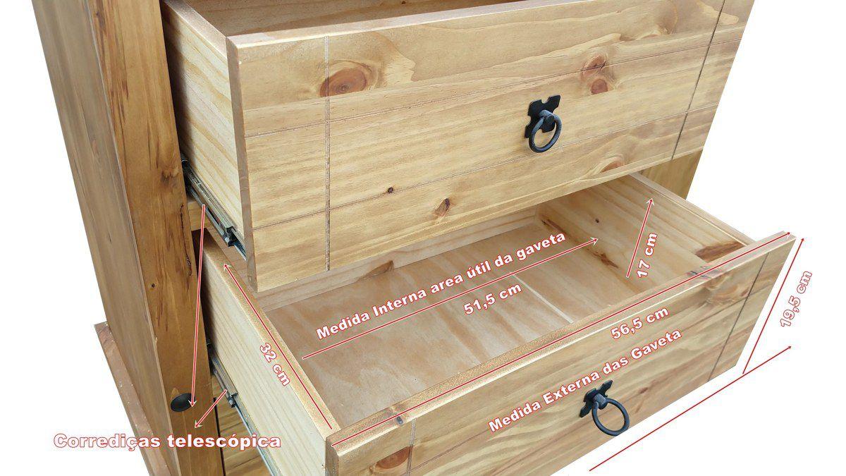 Comoda Rústica com 5 Gavetas - Madeira Maciça, Woods - Castanho