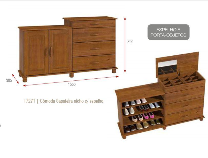 Cômoda Sapateira - 3 Gavetas - 2 Portas - Um Nicho - Madeira Maciça -  Imbuia