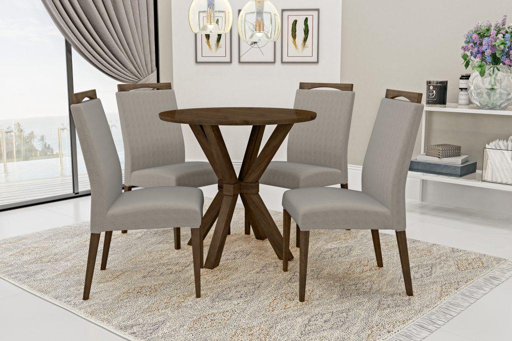 Conjunto Mesa de Jantar Atenas Redonda (90cm) Tampo de Madeira - 4 Cadeiras Isa - Cor Imbuia
