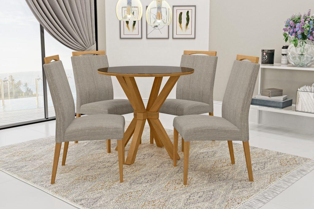 Conjunto Mesa de Jantar Atenas Redonda (90cm) Tampo de Vidro - 4 Cadeiras Betina - Cor Avelã