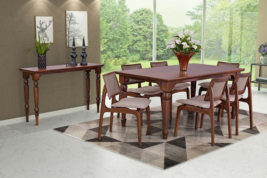 Conjunto Mesa de Jantar Atlanta (180cm) Tampo de Madeira -  6 Cadeiras Amsterdã - Castanho