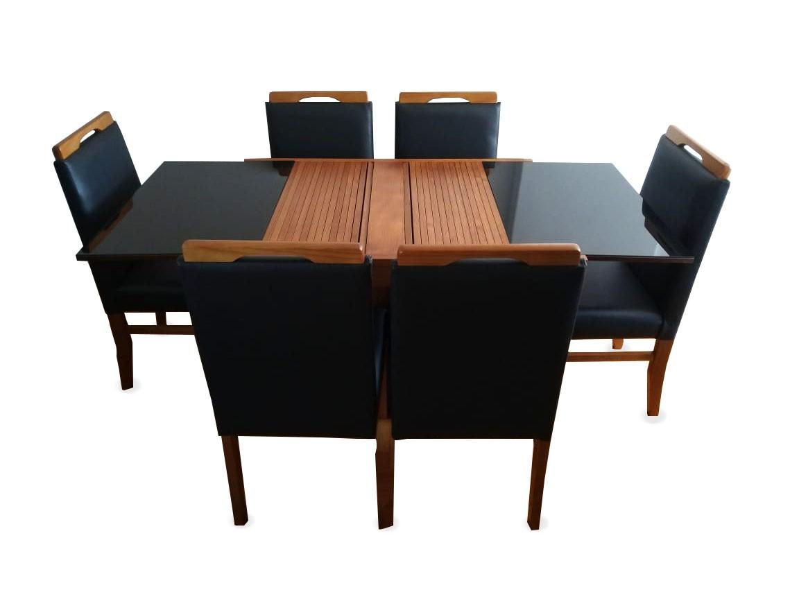 Conjunto Mesa de Jantar Berlin Extensível ( 110 - 170cm) - Tampo de Vidro - 6 Cadeiras Berlim - Pinhão/Preto