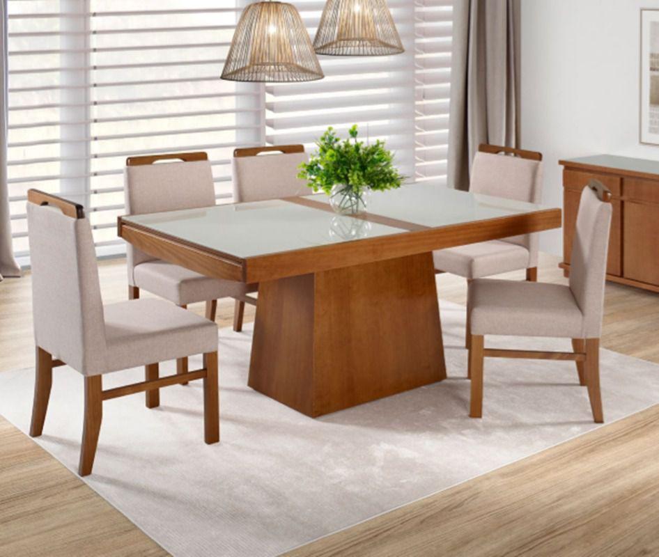 Conjunto Mesa de Jantar Berlin Elástica ( 110 - 170cm) - Tampo de Vidro com 6 Cadeiras Berlim