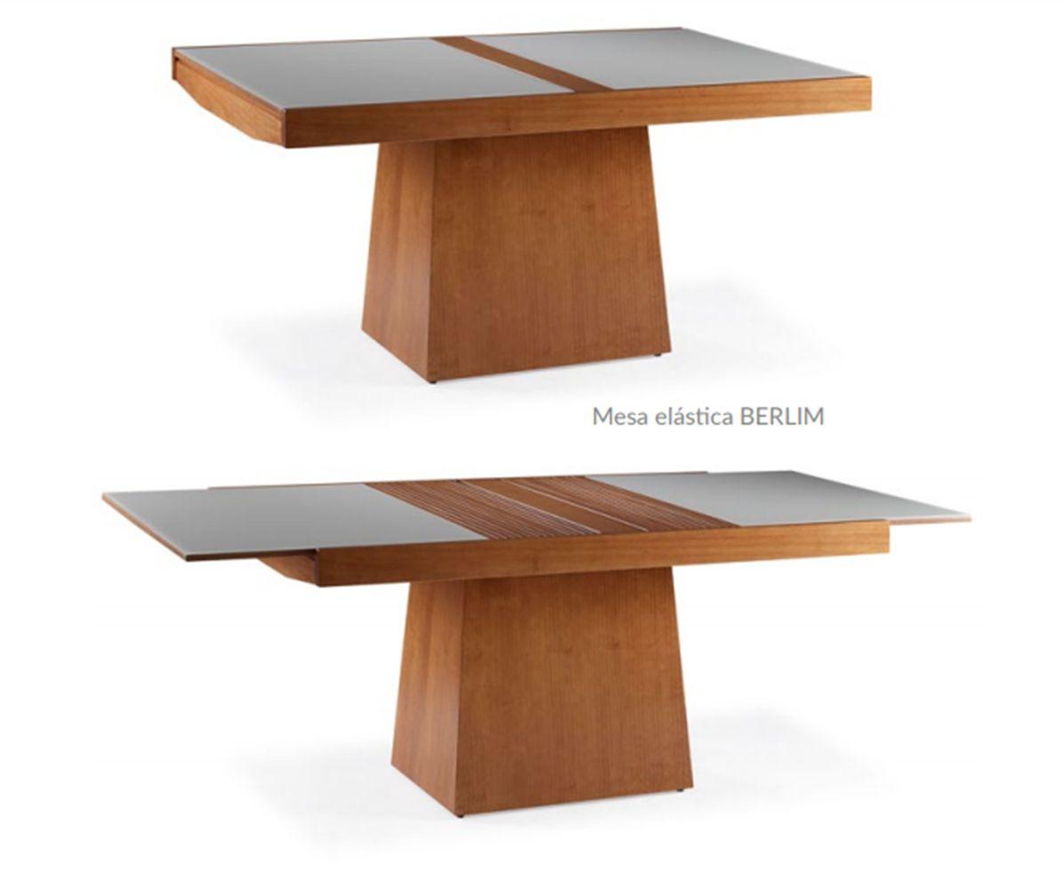 Conjunto Mesa de Jantar Berlin Elástica ( 140 - 200cm) - Tampo de Vidro com 6 Cadeiras Berlim