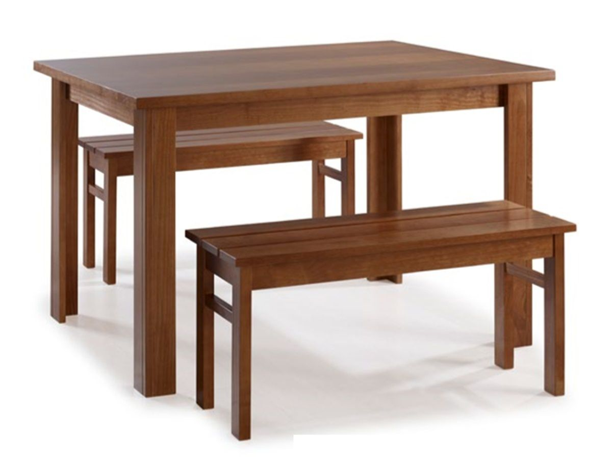 Conjunto Mesa de Jantar Cali (80 x 120cm) - 2 Bancos - Madeira Maciça