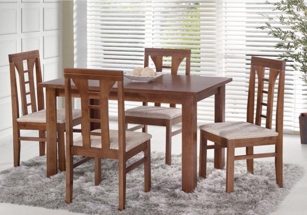 Conjunto Mesa de Jantar Cali (120 cm) com Tampo de madeira com 4 Cadeiras Olinda II