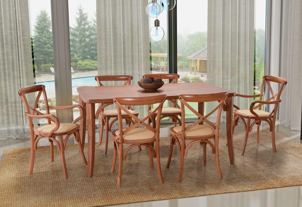 Conjunto Mesa de Jantar Dallas (160cm) Tampo de Madeira -  6 Cadeiras Xangai - Amendôa