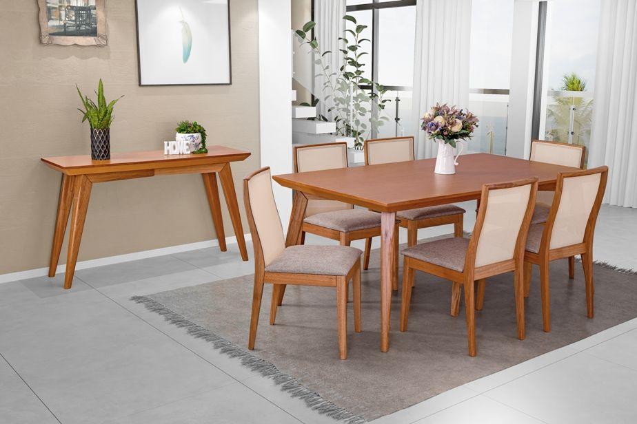 Conjunto Mesa de Jantar Elegance (180cm) Tampo de Madeira -  6 Cadeiras Arizona - Amendoa