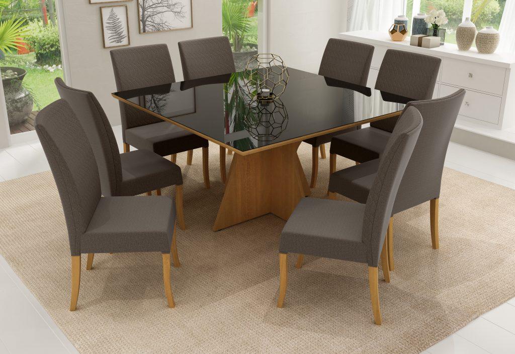 Conjunto Mesa de Jantar Elis Quadrada (140cm) Tampo de Vidro - 8 Cadeiras Isa - Cor Avelã