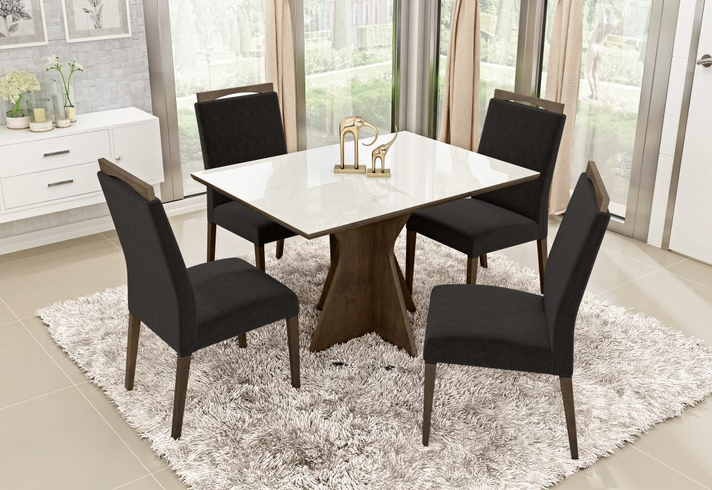 Conjunto Mesa de Jantar Elis Retangular (120cm) Tampo de Vidro - 4 Cadeiras Betina - Cor Imbuia