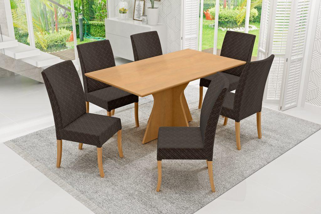 Conjunto Mesa de Jantar Elis Retangular (160cm) Tampo de Madeira - 6 Cadeiras Isa - Cor Avelã