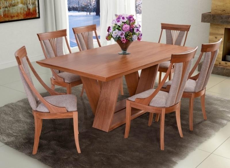 Conjunto Mesa de Jantar Evidence (180cm) Tampo de Madeira - 6 Cadeiras Florença - Amêndoa