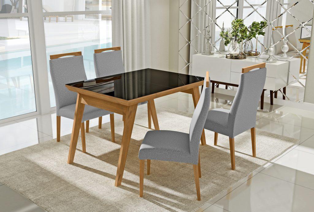 Conjunto Mesa de Jantar Extensível (120 a 160cm) Tampo de Vidro - 4 Cadeiras Karina - Cor Avelã