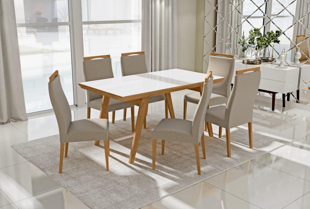 Conjunto Mesa de Jantar Extensível (160 a 200cm) Tampo de Vidro -  6 Cadeiras Karina - Cor Avelã