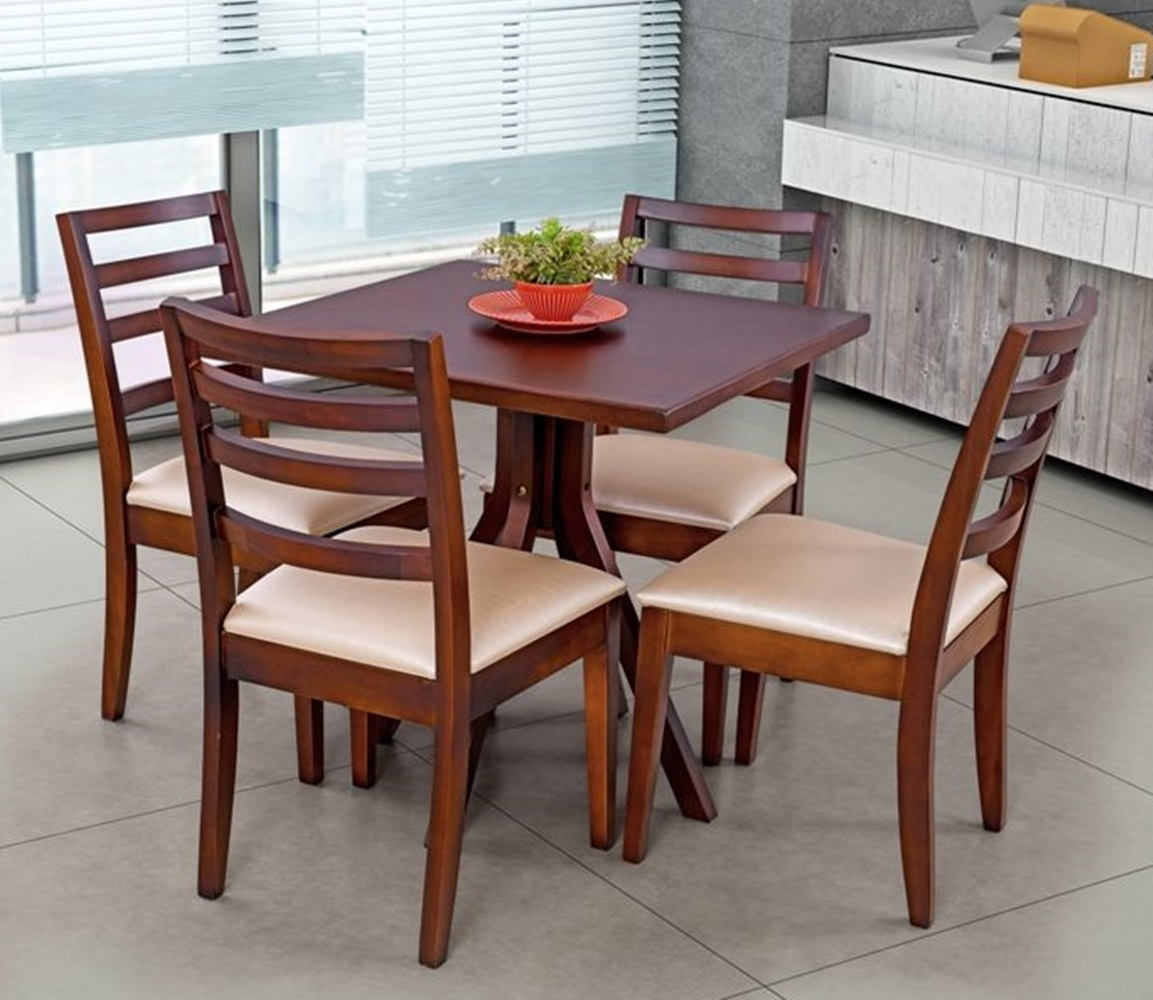 Conjunto Mesa de Jantar Goumert Flórida - 4 Cadeiras Flórida - Imbuia