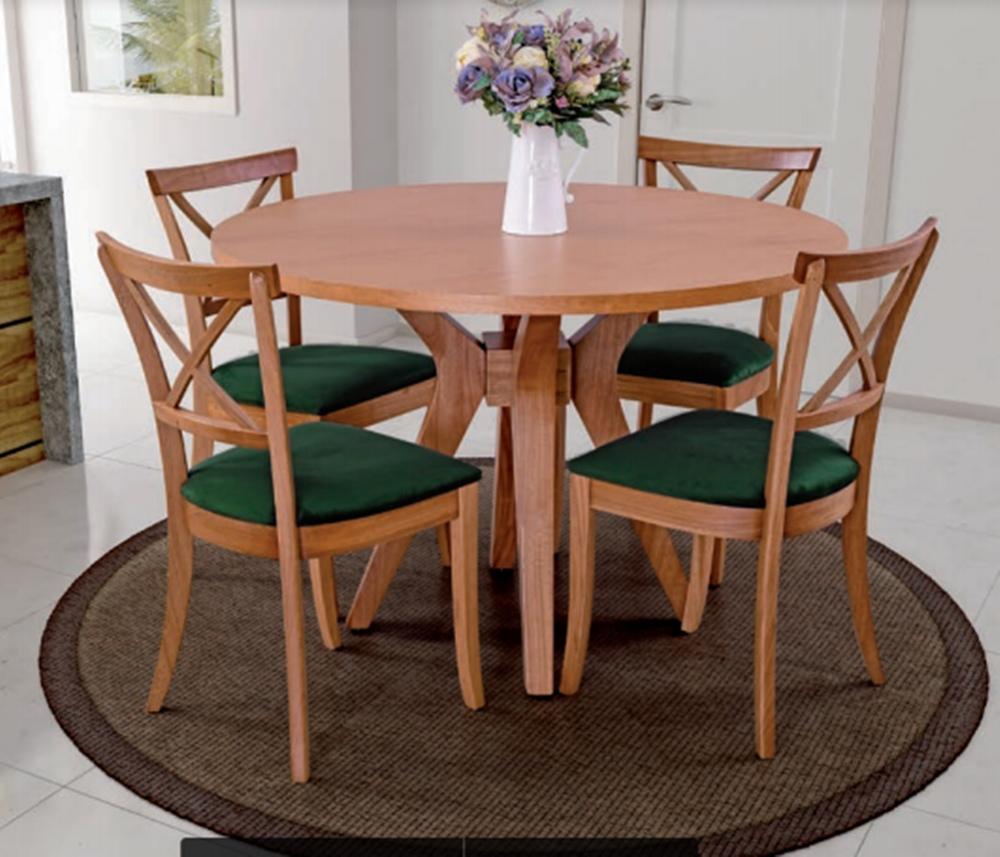 Conjunto Mesa de Jantar Ibiza Redonda  (120cm) Tampo de Madeira -  4 Cadeiras Maimi - Amendoa