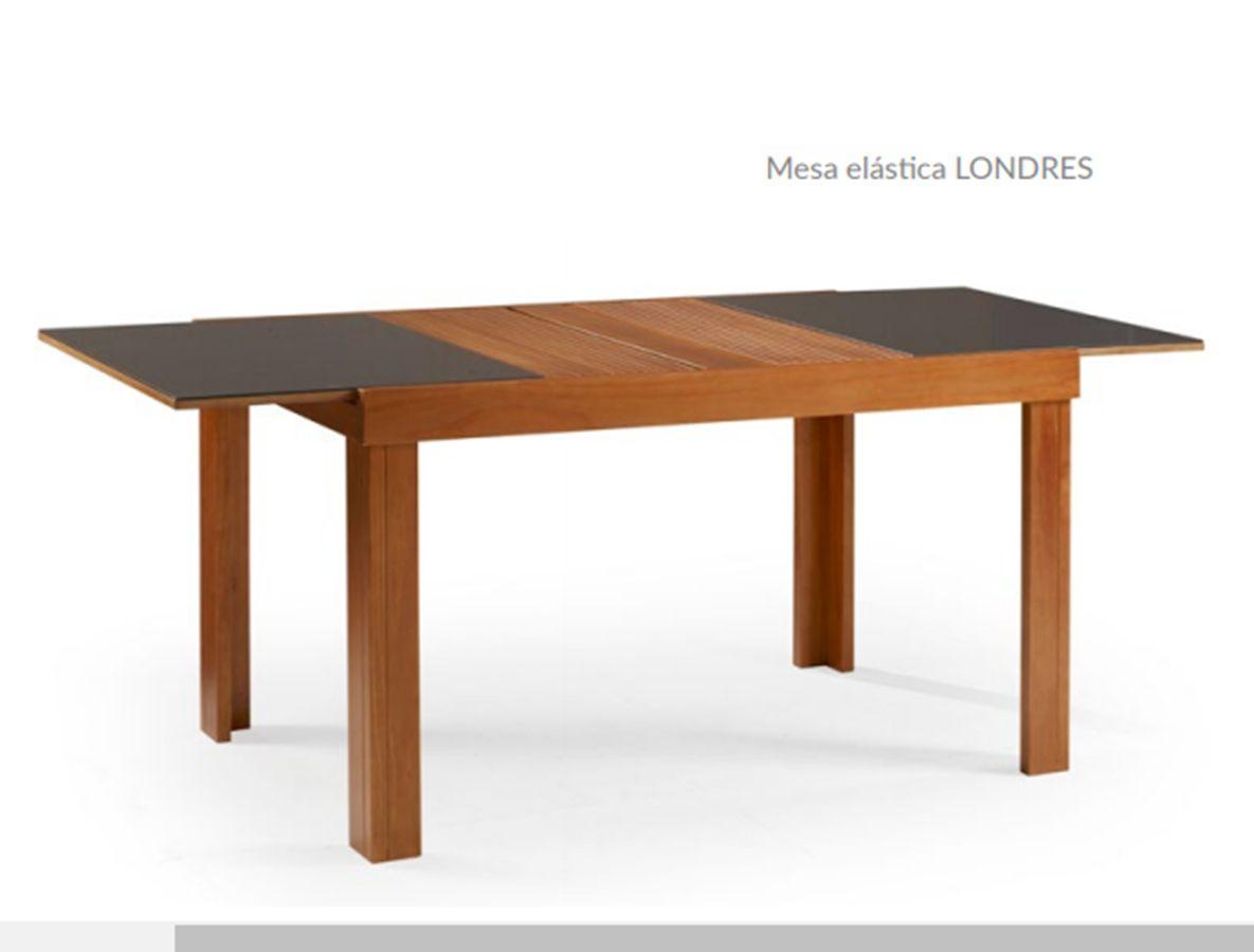 Conjunto Mesa de Jantar Londres Elástica ( 110 - 170cm) Tampo de Vidro com 6 Cadeiras Londres