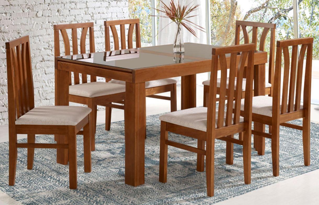 Conjunto Mesa de Jantar Londres Elástica ( 160 - 220cm) Tampo de Vidro com 6 Cadeiras Londres
