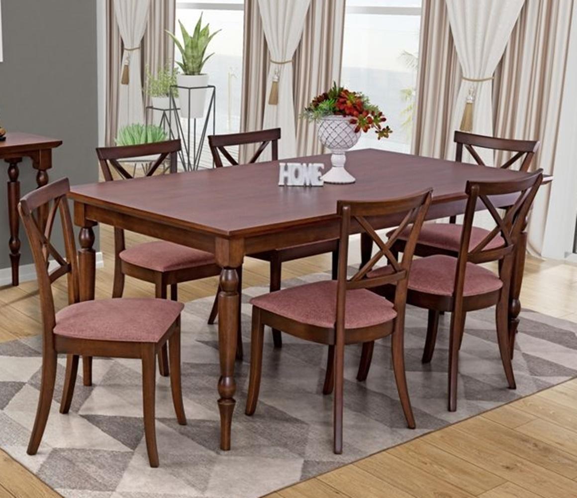Conjunto Mesa de Jantar Orlando (160cm) Tampo de Madeira -  6 Cadeiras Miami - Castanho