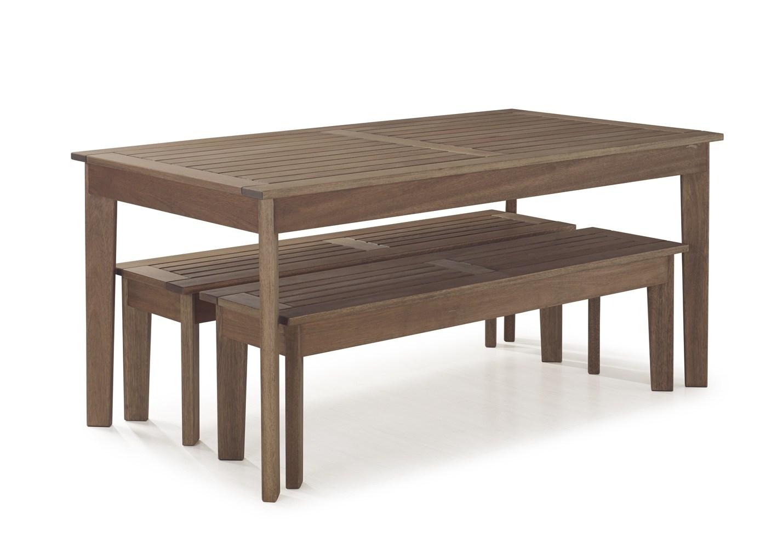 Conjunto Mesa de Jantar Primavera com 2 Bancos - Tamanho (250cm) - Madeira de Eucalipto