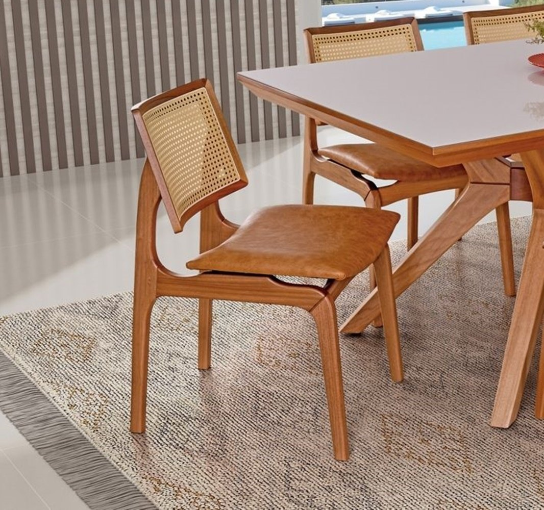 Conjunto Mesa de Jantar Ravena (180cm) Tampo de Vidro -  6 Cadeiras Amsterdã - Amendoa